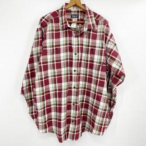 Patagonia red plaid button down shirt mens XL